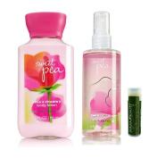 Bath & Body Works Sweet Pea Body Lotion & Fragrance Mist 3 fl. oz/88 mL Mini Travel Set w/ Jarosa Bee Organic Peppermint Lip Balm
