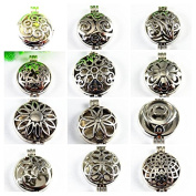 Wholesales 12pcs Mixed Silver 32mm Round Aromatherapy Pendant Locket Essential Oil Diffuser Necklace