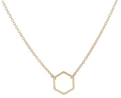 Adecco LLC Gold Hexagon Necklace - Delicate gold necklace, Geometric Jewellery, Dainty gold necklace, Minimalist necklace
