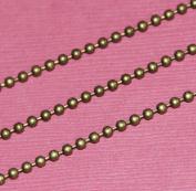 3m of DIY Bulk Antique Brass 2.4mm smooth ball chain