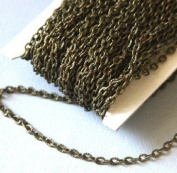 14m of Bulk Antique Brass finished Iron texture cable chain 2X3mm - unsoldered