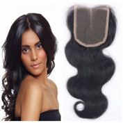 Derun Hair Beauty Closure Size 10cm x 10cm Natural Black Colour 25cm Inch Middle Part Virgin Human Hair Bleached Knots Body Wave Lace Closure