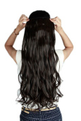 Women DARK BROWN Long Curly 3/4 Full Head One Piece Clip in Hair Extensions 5 Clips 43cm