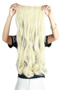 Women Bleach Blonde Long Curly 3/4 Full Head One Piece Clip in Hair Extensions 5 Clips 43cm