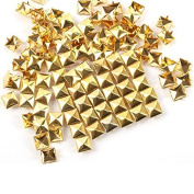 Haobase 50pcs 12mm Gold Plated Pyramid Studs Rivet Spike Nickel Punk Bag Belt Leathercraft Bracelets Clothes