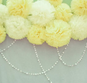 Furuix 8pcs White Mixed Yellow Tissue Paper Pom Pom Paper Flower Pom with 2 pcs White Paper Circle Garlands for Baby Shower Wedding Birthday Celebration Table Wall Decoration