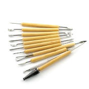 Mikey Store 11PC Stainless Wooden Clay knife Sculpting Modelling Tool