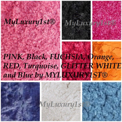 SAMPLE LOT of 8 - 20g Mineral Mica Powder 2.5g EACH Soap Dye Cosmetic Makeup Colourant PINK Black FUCHSIA Orange RED Turquoise GLITTER WHITE Blue DIY Pigments
