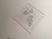 7.6cm Square Engraved Rose Premium 1.3cm Bevelled Glass - Pkg of 12