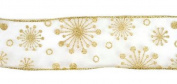 Sheer Gold snowflake ribbon 6.4cm x 10 yards