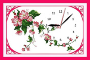 Good Value Cross Stitch Kits Beginners Kids Advanced -Wild Rose Clock Dial 11 CT 50cm x 38cm , DIY Handmade Needlework Set Cross-Stitching Accurate Stamped Patterns Embroidery Home Decoration Frameless