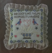 """Designer Series Candlewick And Stitch """"Colonial Sampler"""" Pillow Kit - 1983"""