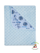 "BlueberryShop Minky Printed Cotton Blanket For Baby Toddler 90 cm x 80 cm (35.5"" x 31.5"") ( 0-5 Yrs ) ( 80 x 90 cm ) Blue"