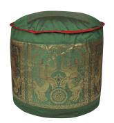 Silk Elephant Work Design Round Floor Cushion Covers 17 X 43cm X 30cm
