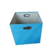 Baby Blue 11x13x13 Alexi Ricci Storage Folding Bin Storage with Style Baby Blue Exterior with beige interior