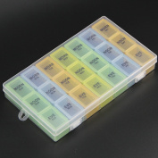 Pill Organiser Box Weekly Case, Medicine Organiser, Vitamin Organiser, Reminder Daily Am PM, Day Night Compartments 7 days