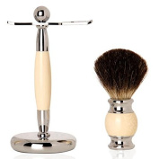 Faux Ivory Shaving Stand Razor Brush Stand Holder-Badger brush-Stainless Steel Weighted Base