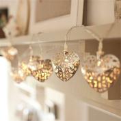 Acamifashion Battery Hollow Heart Warm White LED Filigree Christmas Wedding String Light