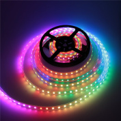 ALITOVE 5m 300 Pixels WS2813 (Upgraded WS2812B) Signal break-point continuous transmission RGB LED Flexible Strip Light Individually Addressable 5050 SMD Waterproof IP67 White PCB 5V DC