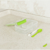 Whosee Green 1 Layer Portable Lunch Bento Box Chopsticks Spoon Set Food Container Storage Box