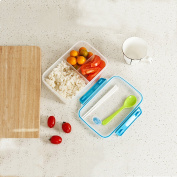Whosee Blue 1 Layer Portable Lunch Bento Box Chopsticks Spoon Set Food Container Storage Box