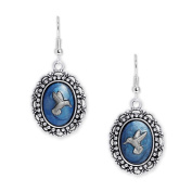 Persian Blue & Silver Colour Hummingbird Mismatched Cameo Vintage Style Dangle Earrings in Silver Tone