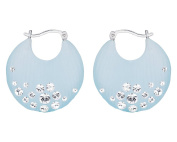 G & H Hand Crafted Blue Lucite Silver Click-Top Hoop Earrings with. Crystals