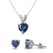 Sterling Silver Simulated Blue Topaz Heart Necklace and Earrings Set