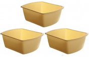 Vakly Rectangular Plastic Wash Basins, Yellow, 7.6l. Pack Of