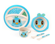 Bamboo Meal Set / Plate set / Dinner set by Green Frog Friends, Eco-friendly Bamboo Dishes, feeding Set for toddlers and Little Kids, Boys and Girls, Bird Character