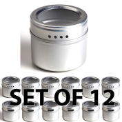 12 Magnetic Spice Tins, Clear Top Lid. Round Storage Spice Rack Set of 12. See-Through Sift or Pour Lid. Magnetic Tins Can Be Placed On Refrigerator or Flat Metal Surface. Talented Kitchen Exclusive