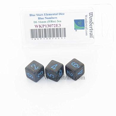 Blue Stars Elemental Dice Blue Numbers D6 16mm Pack of 3 Wondertrail WKP13072E3