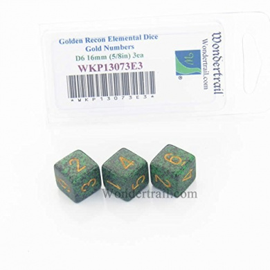 Golden Recon Elemental Dice Gold Numbers D6 16mm Pack of 3 Wondertrail WKP13073E3