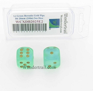 WCXDB2025E2 Light Green Borealis Dice with Gold Pips 20mm (3/4in) D6 Pack of 2