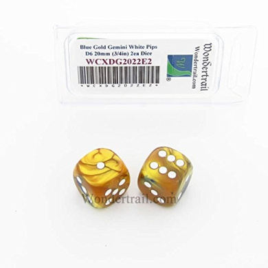 WCXDG2022E2 Blue and Gold Gemini Dice with White Pips 20mm (3/4in) D6 Pack of 2
