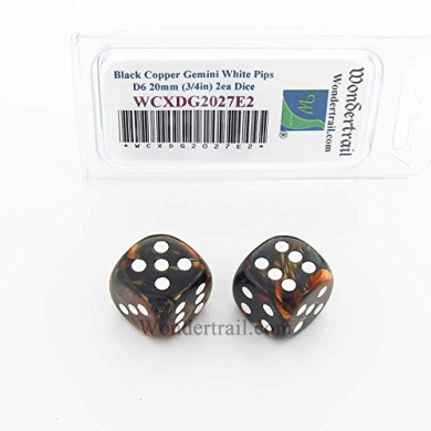 WCXDG2027E2 Black and Copper Gemini Dice with White Pips 20mm (3/4in) D6 Pack of 2