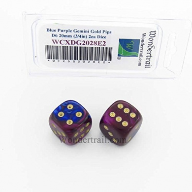 WCXDG2028E2 Blue and Purple Gemini Dice with Gold Pips 20mm (3/4in) D6 Pack of 2