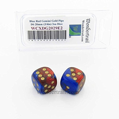 WCXDG2029E2 Blue and Red Gemini Dice with Gold Pips 20mm (3/4in) D6 Pack of 2