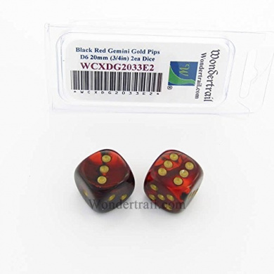 WCXDG2033E2 Black and Red Gemini Dice with Gold Pips 20mm (3/4in) D6 Pack of 2