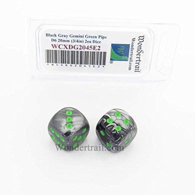 WCXDG2045E2 Black and Grey Gemini Dice with Green Pips 20mm (3/4in) D6 Pack of 2