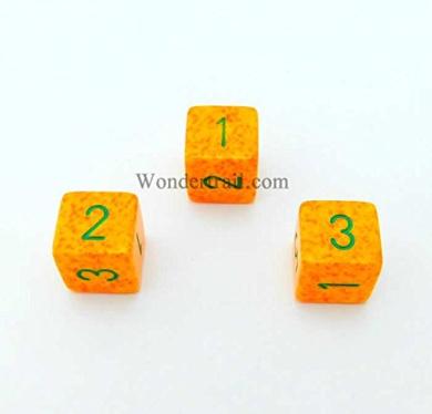 Lotus Elemental Dice 16mm D6 (Six Sided Dice) 3pc Green Numbers Wondertrail WKP07048E3