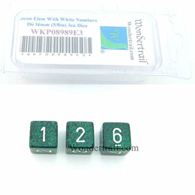 Recon Elemental Dice with White Numbers D6 16mm (5/8in) Pack of 3 Wondertrail WKP08989E3