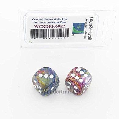 WCXDF2060E2 Carousel Festive Dice with White Pips 20mm (3/4in) D6 Pack of 2