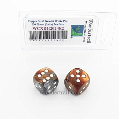 WCXDG2024E2 Copper and Steal Gemini Dice with White Pips 20mm (3/4in) D6 Pack of 2