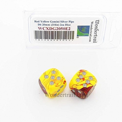 WCXDG2050E2 Red and Yellow Gemini Dice with Silver Pips 20mm (3/4in) D6 Pack of 2
