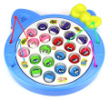 Fishing Diary Game for Children Battery Operated Rotating Novelty Toy Fishing Game Play Set w/ 21 Fishes, 4 Fishing Rods, Music
