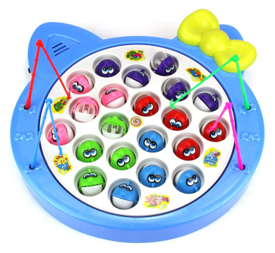 Fishing Diary Game for Children Battery Operated Rotating Novelty Toy Fishing Game Play Set w/ 21 Fishes, 4 Fishing Rods, Music (Blue)