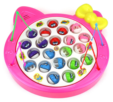 Fishing Diary Game for Children Battery Operated Rotating Novelty Toy Fishing Game Play Set w/ 21 Fishes, 4 Fishing Rods, Music (Pink)