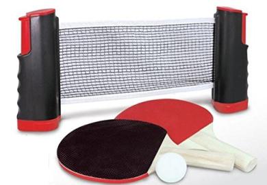 Heemika Deluxe Table Tennis Ping pong Retractable net +Racket Paddle Bat Set