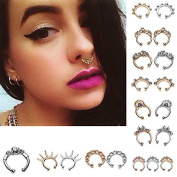 Maggie 20 Pcs 12mm Fake Septum Clicker Nose Ring Non Piercing Hanger Clip Body Jewellery